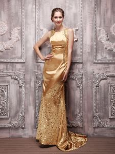 Gold Bateau Sequined Prom Evening Dress with Beading in Lewisville