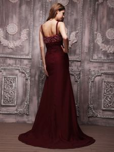Burgundy Beaded Prom Gown Dress in Chiffon with Brush Train in Irving