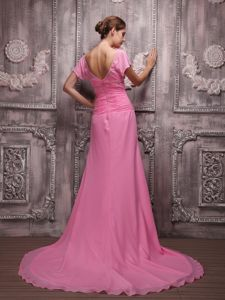 V-neck Rose Pink Junior Prom Dress with Brush Train and Beading