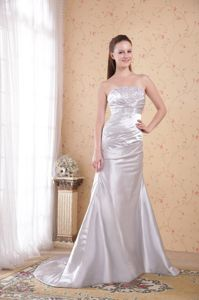 Grey Strapless Satin Appliqued Ruched Prom Dresses in Grand Prairie