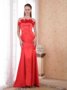 Red Mermaid Strapless Hand Flowery Prom Dress with Court Train