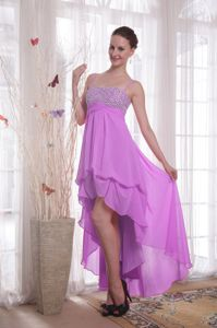 High-low Chiffon Beaded Prom Gown Dress in Purple in Grapevine TX