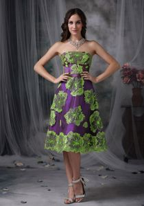 Multi-colored A-line Strapless Tea-length Prom Attire with Appliques