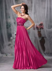 Red Strapless Taffeta Pleated Prom Dress with Beading in Beaumont