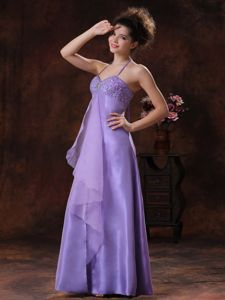 Beaded Halter Chiffon Lilac Informal Prom Dresses in Houston TX