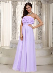 Lilac Strapless Floor-length Chiffon Prom Dress with Hand Flowers