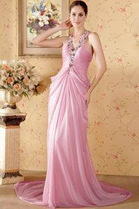 Halter Rose Pink Chiffon Beaded Dress for Prom with Chapel Train
