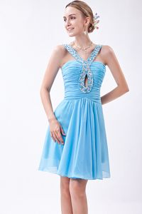 Baby Blue V-neck Mini-length Prom Gown Dress with Beading in Denton