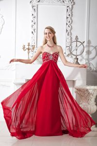 Beaded Chiffon Prom Gown with Court Train in Wine Red in Garland