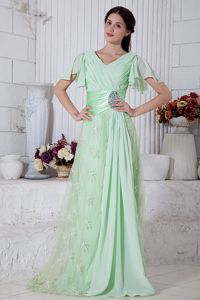 V-neck Beaded Chiffon Prom Dresses with Brush Train Apple Green
