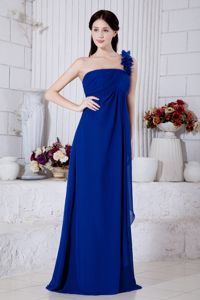 Royal Blue One Shoulder Chiffon Prom Dress with Brush Train in Houston