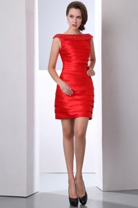 Red Bateau Mini-length Taffeta Prom Dress with Beading in Georgetown