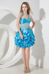 Halter Lace Mini-length Taffeta Prom Dress in Baby Blue in College Station
