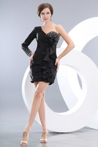 Black One Shoulder Beaded Mini-length Taffeta Prom Dress in Beaumont