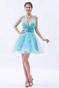 Blue V-neck Mini-length Prom Evening Dress Organza with Sequins