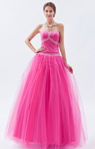 Hot Pink A-line Sweetheart Floor-length Prom Dress with Beading in Abilene