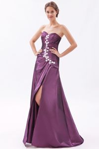 Sweetheart Brush Train Dark Purple Prom Outfits with High Slit in Marshall