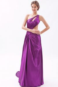 Eggplant Purple Asymmetrical Prom Dress with Brush Train and Cutout Waist