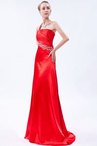 One Shoulder Prom Dress with Brush Train in Red with Beading and Ruching