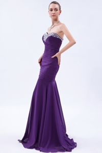 Purple Sweetheart Mermaid Prom Gown with Beading and Ruching in Malta