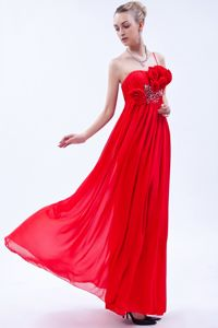 One Shoulder Floor-length Prom Dresses in Red with Beading and Flowers