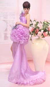 Lavender One Shoulder Organza Prom Gowns with Brush Train and Ruffles