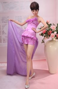 Strapless Mini-length Dress for Formal Prom in Purple with Flowers in Lisle