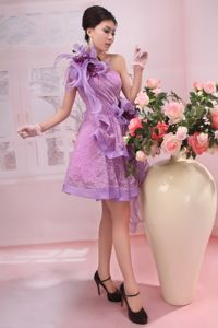 Lilac One Shoulder Knee-length Prom Gown Dress with Ruffles and Flowers
