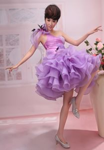 Purple One Shoulder Short Prom Dresses with Ruffles and Flowers in Lyons