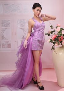 Exquisite V-neck Sheath Mini-length Prom Gown Dress in Lilac with Beading