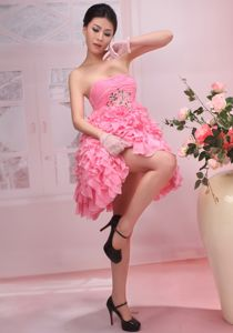 Pink Beaded and Ruched Knee-length Prom Dress with Ruffles in Hampshire
