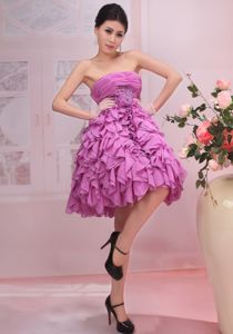 Strapless Mini-length Puffy Rose Pink Prom Gowns with Ruffles in Grafton