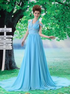 Ruched and Beaded Halter Top Prom Attires with Court Train in Aqua Blue