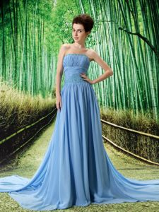 Blue Strapless Watteau Train Dresses for Gown with Ruches in Granite City