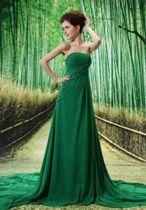 Beaded Strapless Dark Green Prom Gown Dress with Chapel Train in Gilson