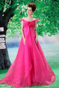 Off the Shoulder A-line Court Train Prom Gowns in Hot Pink with Ruches