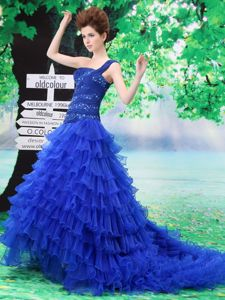 Royal Blue Ruffled One Shoulder Court Train Prom Dresses with Appliques