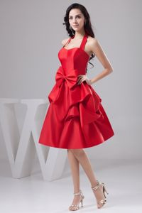 Affordable Halter Knee-length Taffeta Prom Gowns in Red with Bowknot