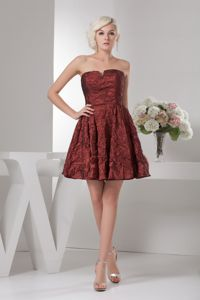 Burgundy Strapless Mini-length Prom Gown Dress with Ruches in Dieterich