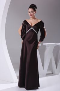 V-neck Column Floor-length Dark Purple Dress for Prom with Half Sleeves