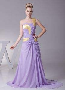 Lavender One Shoulder Brush Train Prom Gown Dress with Ruches in Dupo