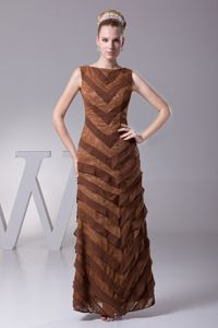 Bateau Ankle-length Brown Prom Gown Dresses with Ruffles in Belvidere