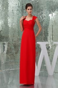 Red Square Neck Column Prom Gown Dress with Cutout Back in Neponset