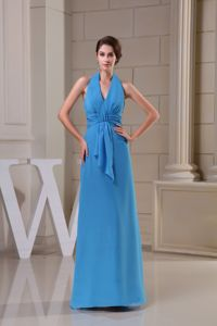 Popular Halter Top Ankle-length Prom Gown Dresses in Blue with Ruches