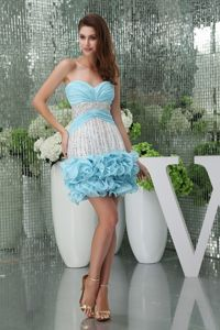 Sweetheart Ruched and Beaded Prom Attire in Baby Blue with Back Zipper