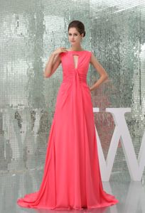 Chiffon Watermelon Red Brush Train Prom Gown Dresses with Ruches
