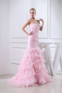Sweetheart Beaded Prom Dress in Baby Pink with Brush Train in Morrison