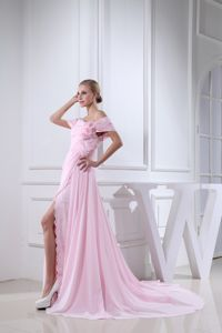 Baby Pink Off the Shoulder Prom Gown Dresses with Court Train and Slit