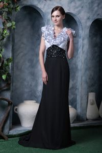 White and Black Column Prom Dress with Brush Train and Ruffles in Nebo