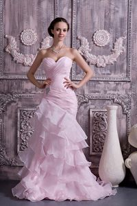 Sweetheart Mermaid Brush Train Informal Prom Dress in Pink with Ruffles